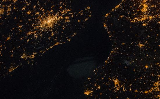 London from space by night