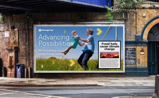Example fossil fuel ad with climate warning
